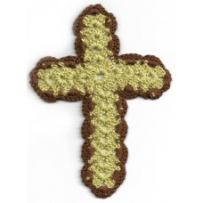 Crochet Cross, Large - Ochre with Brown Border