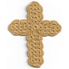 Crochet Cross, Large - Ochre