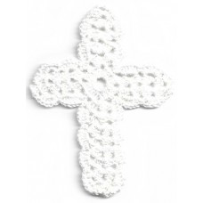 Crochet Cross, Medium - White with Lurex