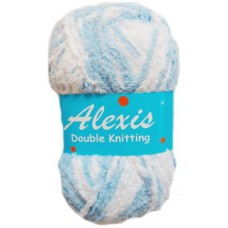Alexis, Double Knit - Light Blue and White