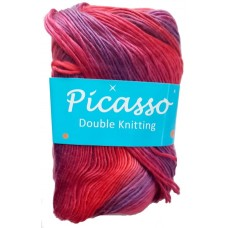 Picasso, Double Knit - Shades of Red and Purple
